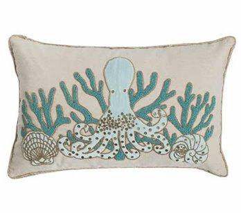 Saltwater Serenity Octopus Beaded Pillow