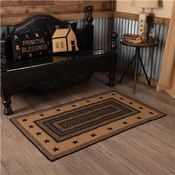 Farmhouse Jute Rug Rectangular Stencil Stars 36x60