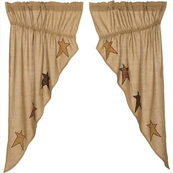 Stratton Burlap Applique Star Prairie Curtain set of 2 panels 63x36x18