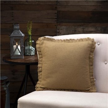 Burlap Natural Fringed Pillow 16 x 16