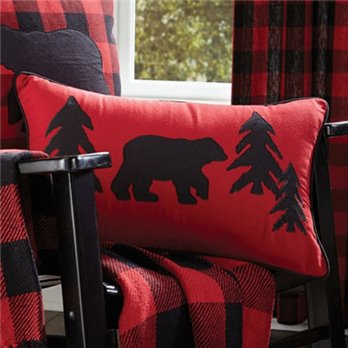 Buffalo Check 12 x 20 Bear Pillow with insert