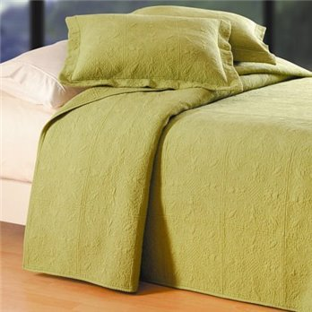 Green Quilted Matelasse Twin Quilt
