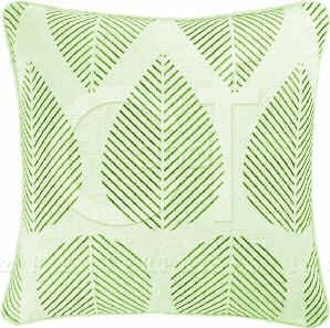 Green Stripe Leaves Embroidered Pillow