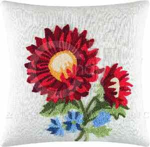 Red Sunflower Tufted Pillow