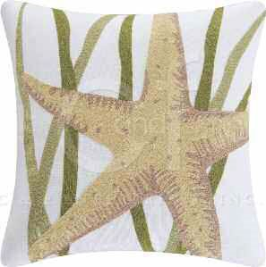Blue Oasis Starfish Chain Stitch Pillow