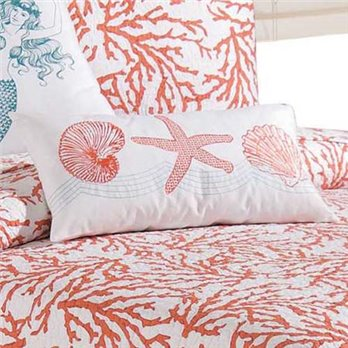 Cora Shells and Starfish Embroidered Pillow