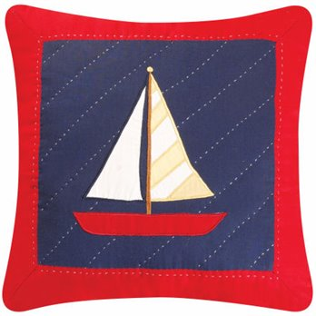 Sail Away Navy and Red Sailboat Pillow