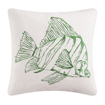 Reef Point Embroidered Green Fish Pillow