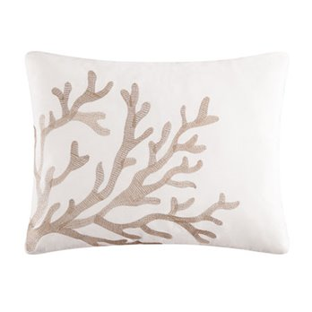 Reef Point Embroidered Tan Coral Pillow