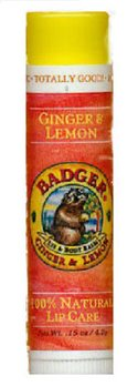 Badger Ginger & Lemon Lip Balm (.15 oz stick)