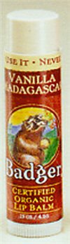 Badger Vanilla Madagascar Lip Balm (.15 oz stick)