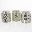 Mercury Glass Votive Holders Set of 3: Silver Assorted