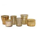 Mercury Glass Tealight Holders Set of 6: Gold
