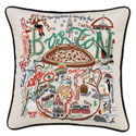 Boston Embroidered Pillow