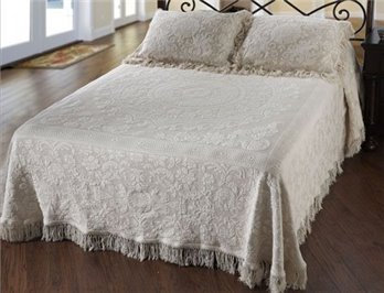 Queen Elizabeth Twin White Bedspread