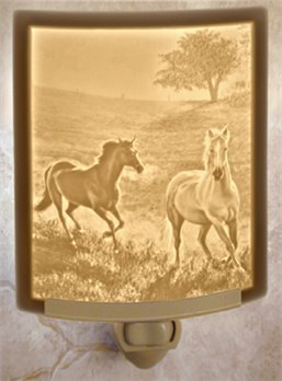 Morning Run Horses Night Light by Porcelain Garden