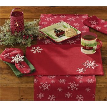 Snowfall Napkin - Red