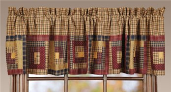 Millsboro Log Cabin Block Border Valance 16 x 72