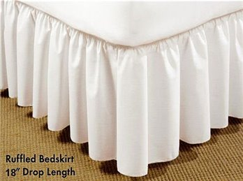 Long Plain 18 inch Queen White Bedruffle