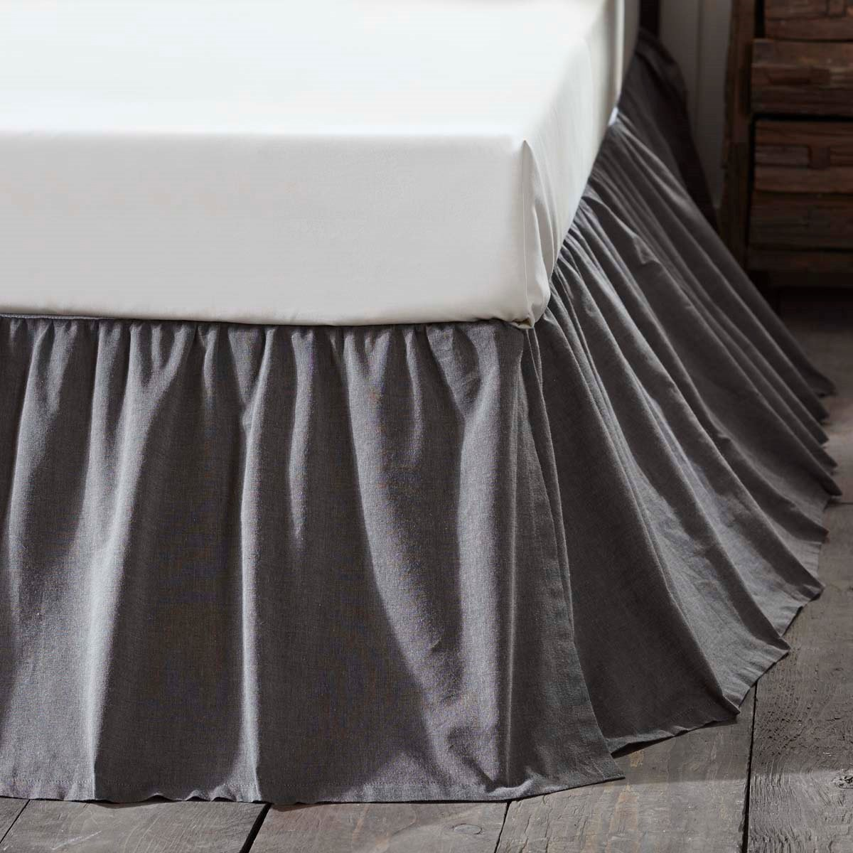 Black Chambray Queen Bed Skirt Pc Fallon
