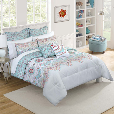 Vue Cordova Sky 5 Piece Twin Extra Long Comforter Set Pc Fallon