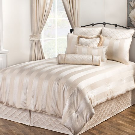 marquis stripe california king size 4 piece comforter set by victor