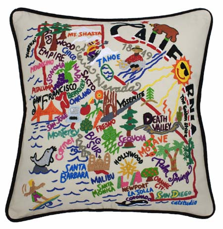 DecorHouzz Pillow Covers State/City Map Pillowcase embroidered cushion  cover Birthday Gift Anniversary Gift Graduation