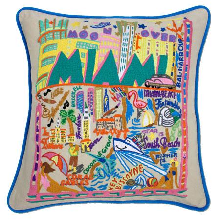 city of miami embroidered pillow miami souvenir