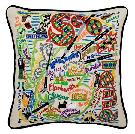 embroidered pillow scotland souvenir catstudio p c fallon co