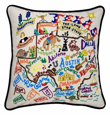 state of texas embroidered pillow texas souvenir catstudio