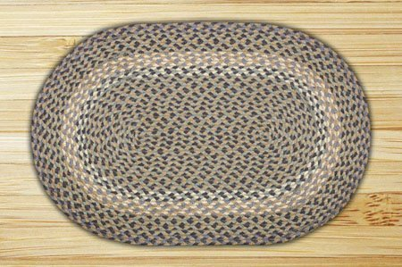 Blue & Natural Oval Braided Rug 5'x8'