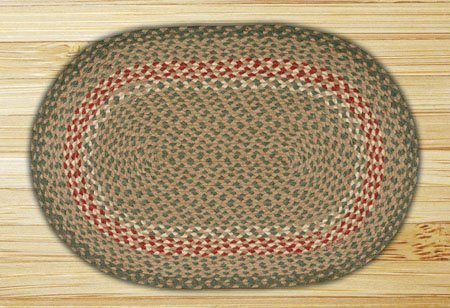 Green & Burgundy Oval Braided Rug 2'x6'