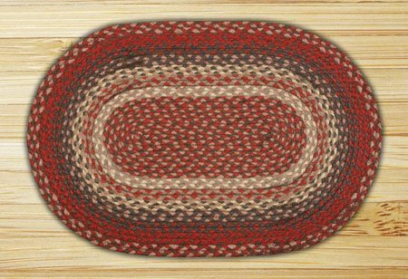 Burgundy Oval Braided Rug 5'x8'