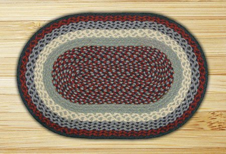 Blue & Burgundy Oval Braided Rug 20