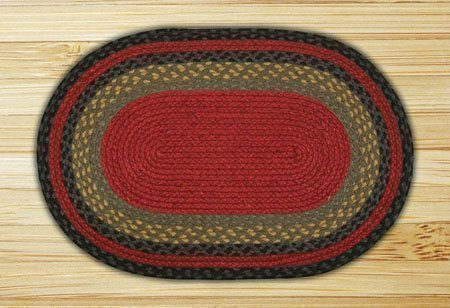 Burgundy, Olive & Charcoal Oval Braided Rug 4'x6'