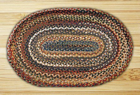Random Colors Oval Braided Rug 5'x8'