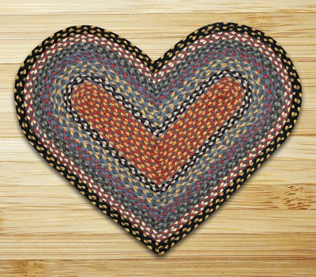 Burgundy, Blue & Gray Heart Shaped Braided Rug 20