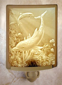 Dolphins Night Light by Porcelain Garden