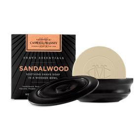 Caswell-Massey Shave Essentials Sandalwood Shave Soap in Wooden Bowl