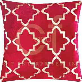 Veda Red Embroidered Pillow