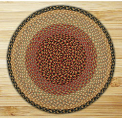 Burgundy, Gray & Cream Round Braided Rug 5.75'x5.75'