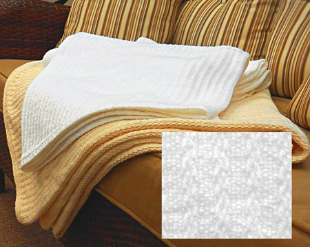Cable Weave Blanket Full White