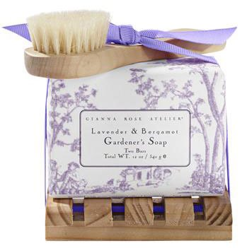 Gianna Rose Lavender & Bergamot Gardener's Soap on Wood Tray with Brush (2 bars)