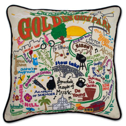 Golden Gate Park Embroidered Pillow