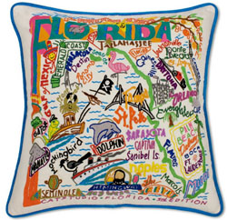 Florida Embroidered Pillow