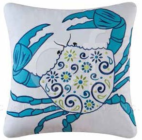 Imperial Coast Embroidered Crab Pillow