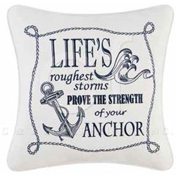 Fair Winds Embroidered Saying Life Pillow