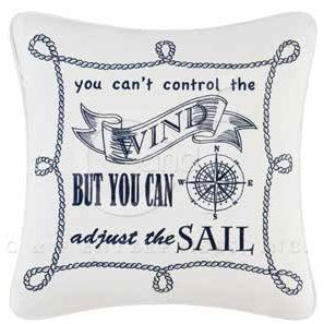 Fair Winds Embroidered Saying Wind Pillow