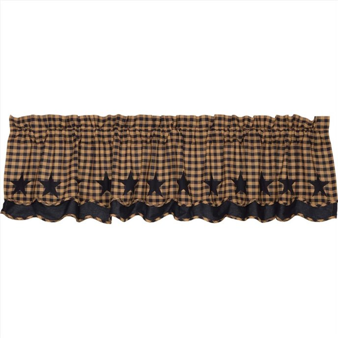 Navy Star Scalloped Valance Layered