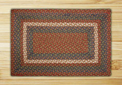 Burgundy & Gray Rectangle Braided Rug 2'x8'